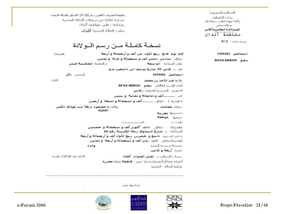 e-Forum 2006Projet Fès-eGov 24/48