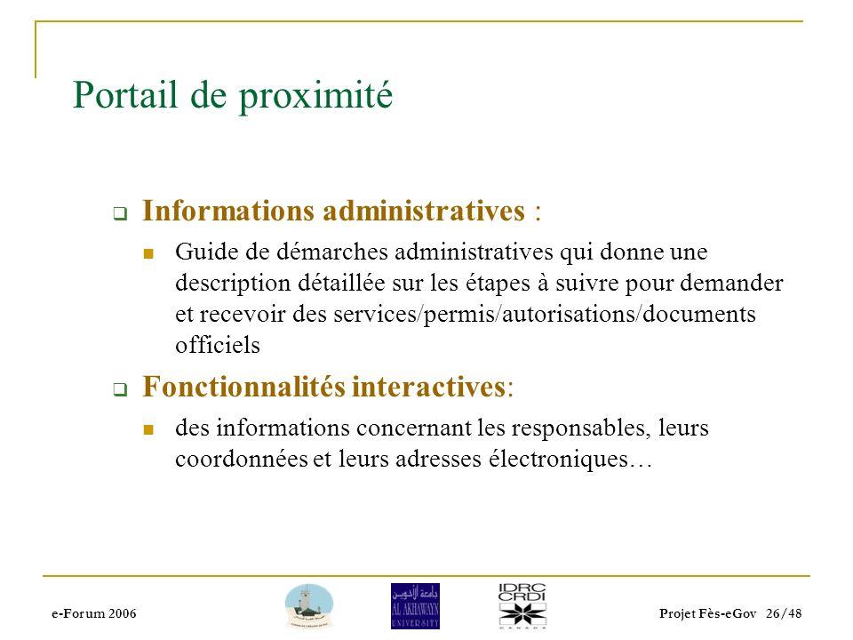 e-Forum 2006Projet Fès-eGov 25/48