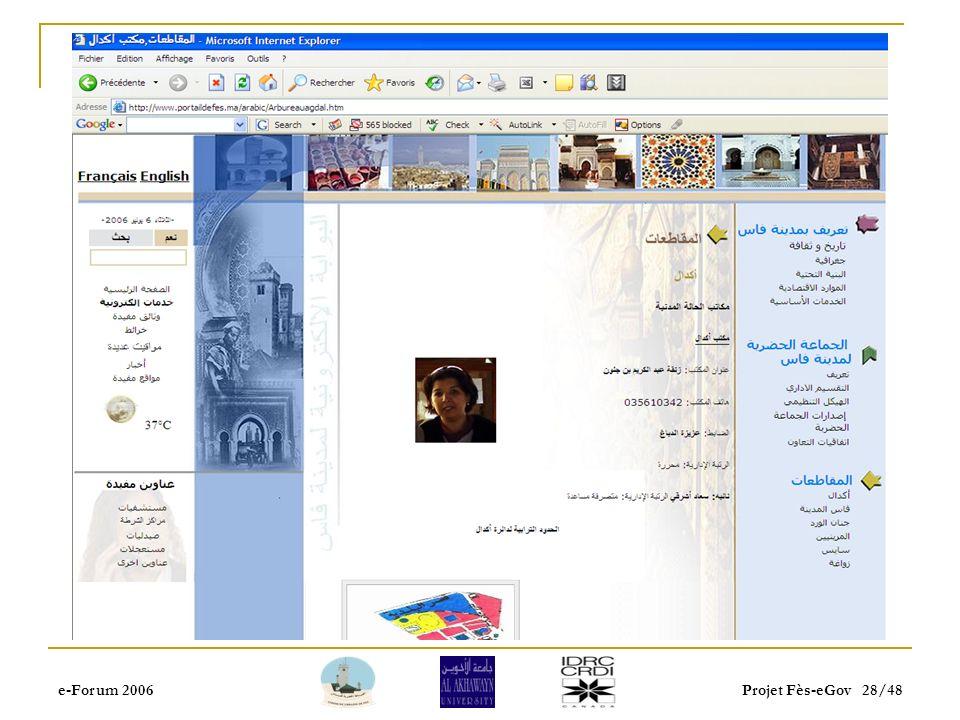 e-Forum 2006Projet Fès-eGov 27/48