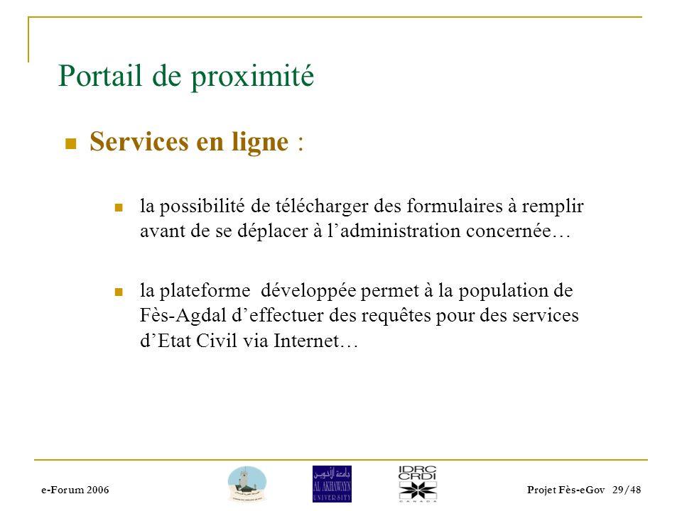 e-Forum 2006Projet Fès-eGov 28/48