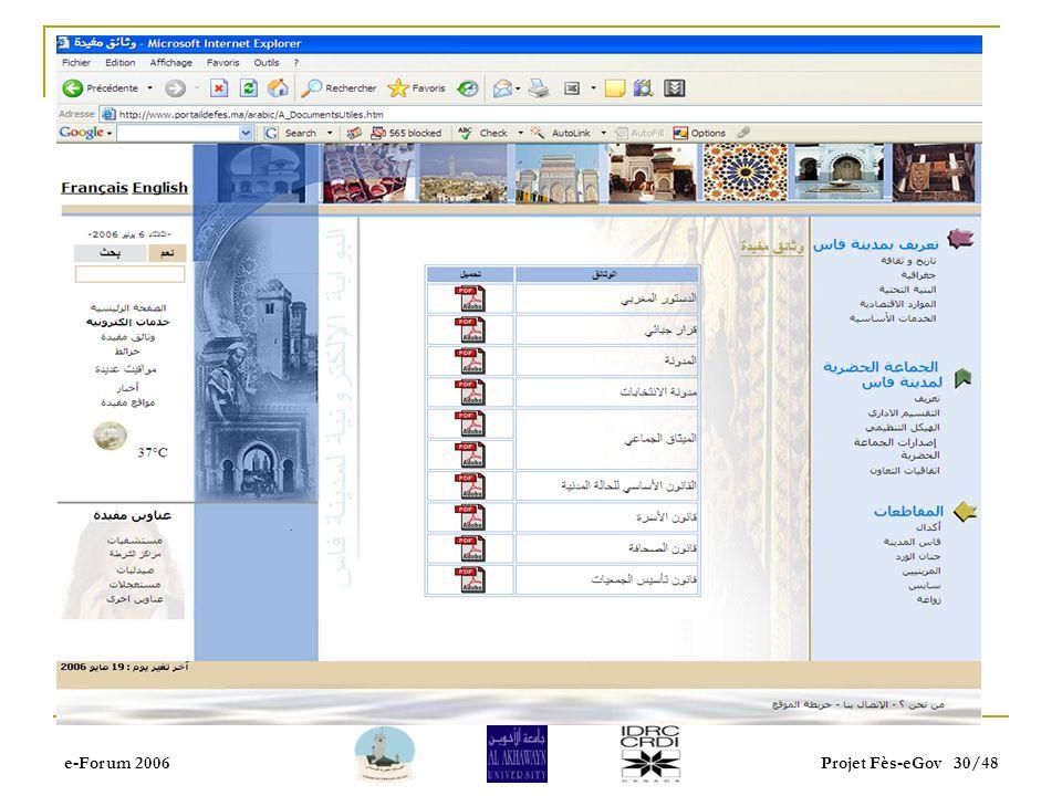 e-Forum 2006Projet Fès-eGov 29/48 Portail de proximité Services en ligne : la possibilité de télécharger des formulaires à remplir avant de se déplace
