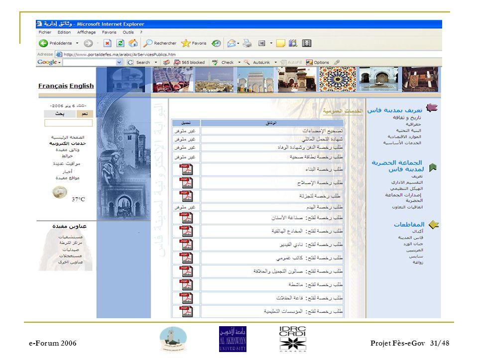 e-Forum 2006Projet Fès-eGov 30/48