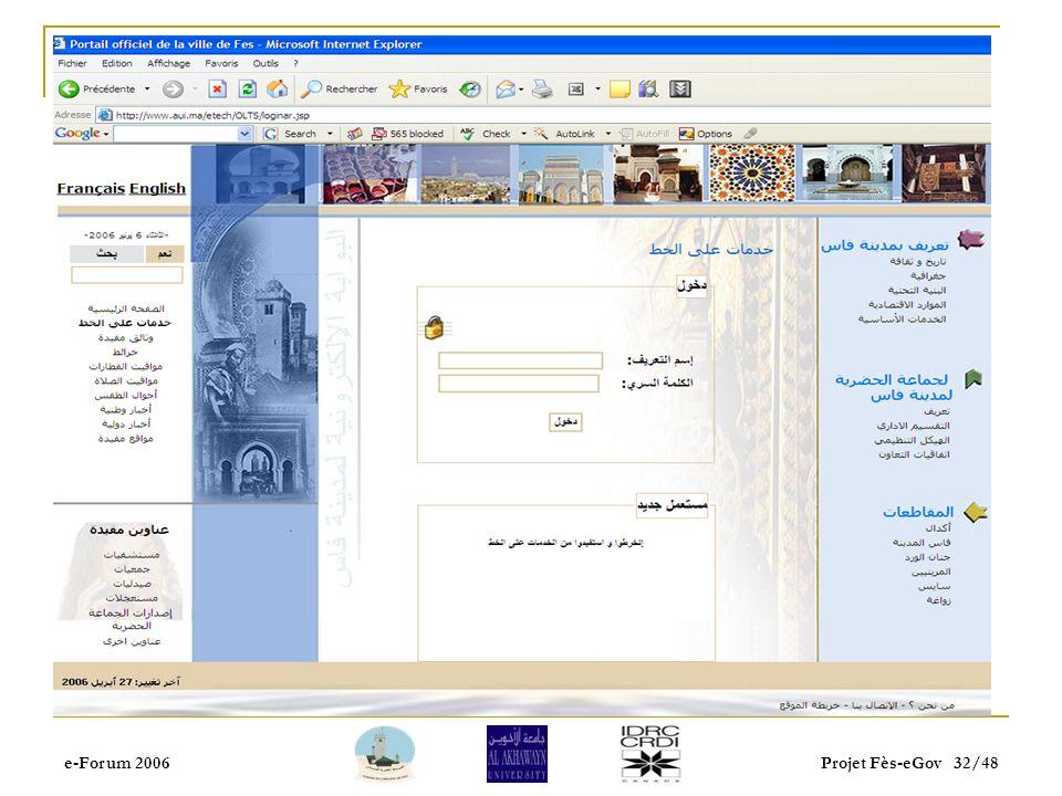 e-Forum 2006Projet Fès-eGov 31/48