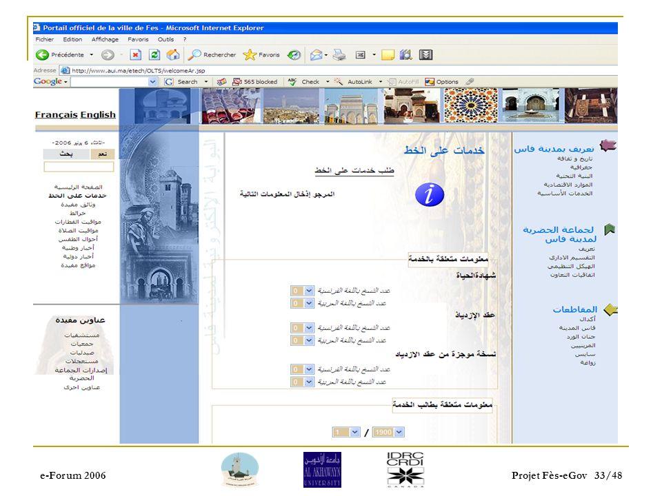 e-Forum 2006Projet Fès-eGov 32/48