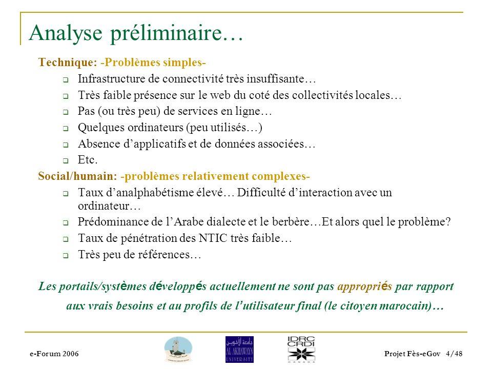e-Forum 2006Projet Fès-eGov 3/48 Contexte et Motivations… Au Maroc, il y a un discours officiel pour soutenir l utilisation des NTICs pour le d é veloppement durable … Il y a un progr è s r é el à plusieurs niveaux … Malheureusement, il n y pas d impact tangible sur la vie au quotidien du citoyen … Composante G2C du concept de e-gouvernement Pourquoi.