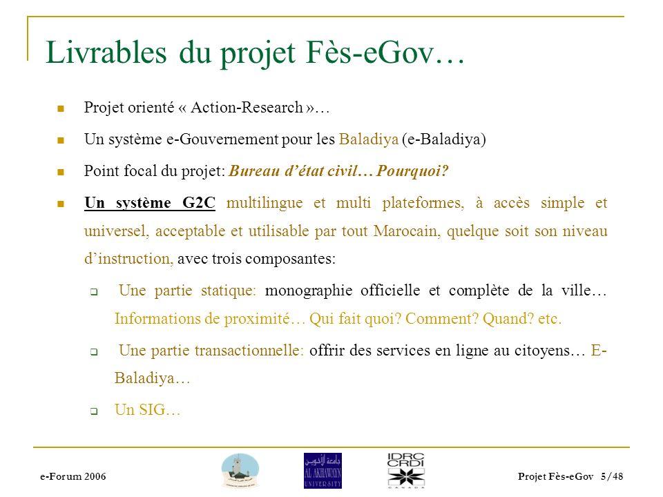 e-Forum 2006Projet Fès-eGov 4/48 Analyse préliminaire… Technique: -Problèmes simples- Infrastructure de connectivité très insuffisante… Très faible pr