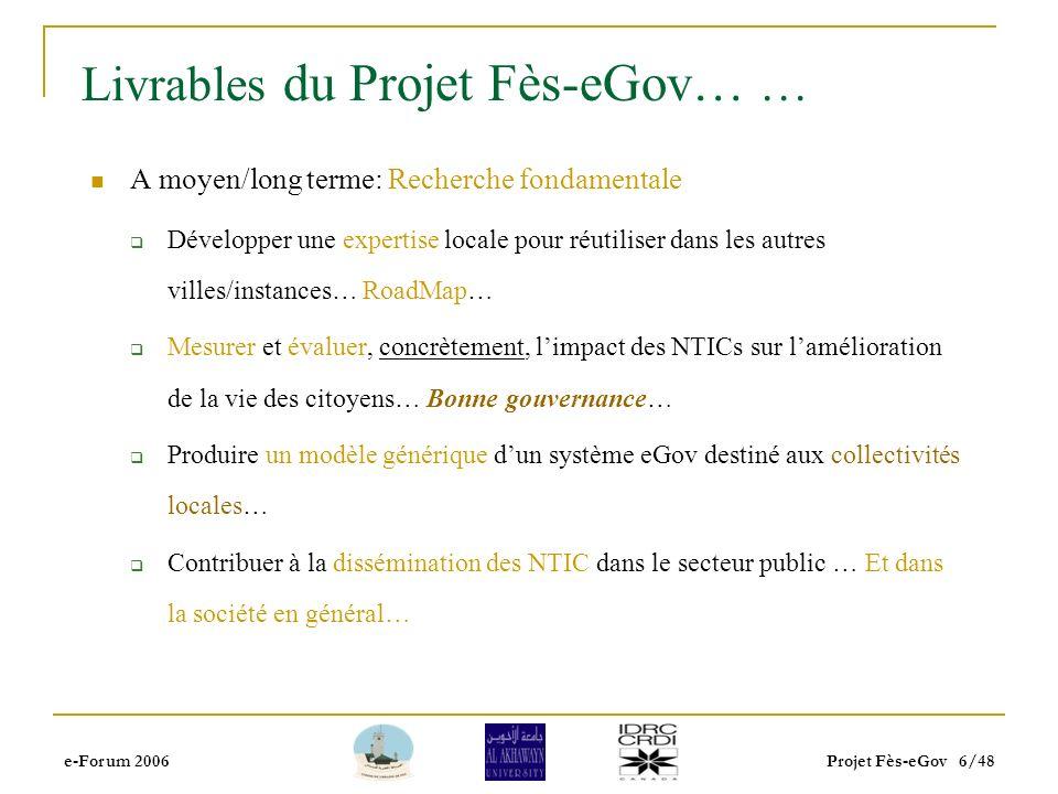 e-Forum 2006Projet Fès-eGov 5/48 Livrables du projet Fès-eGov… Projet orienté « Action-Research »… Un système e-Gouvernement pour les Baladiya (e-Baladiya) Point focal du projet: Bureau détat civil… Pourquoi.