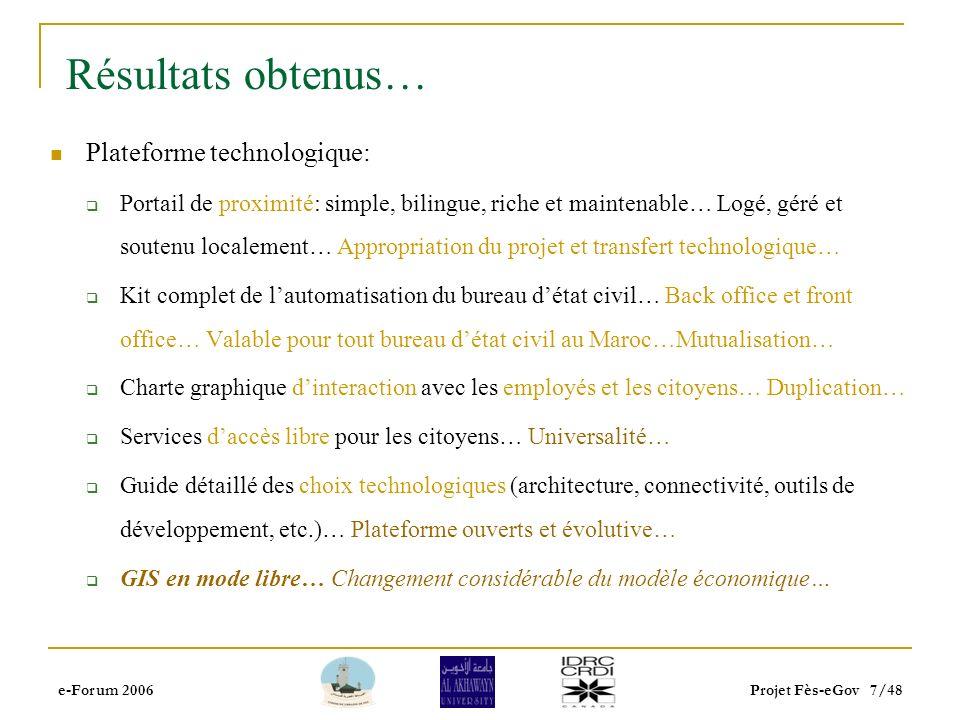 e-Forum 2006Projet Fès-eGov 6/48 A moyen/long terme: Recherche fondamentale Développer une expertise locale pour réutiliser dans les autres villes/ins