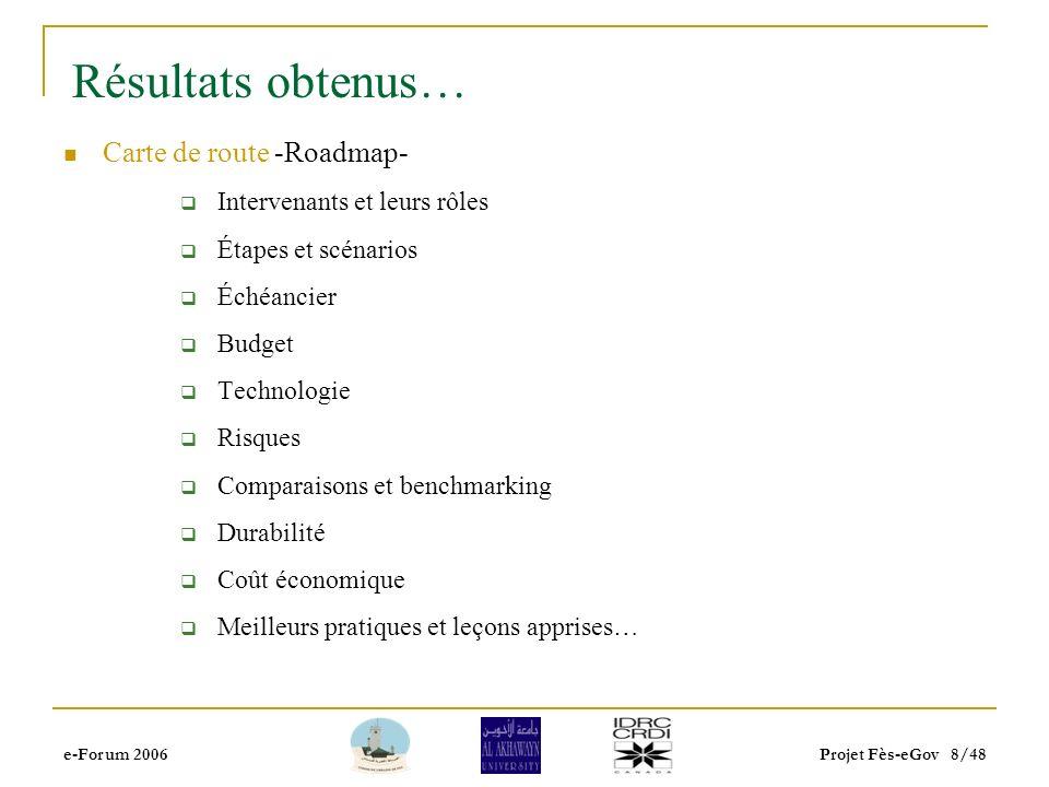 e-Forum 2006Projet Fès-eGov 7/48 Résultats obtenus… Plateforme technologique: Portail de proximité: simple, bilingue, riche et maintenable… Logé, géré