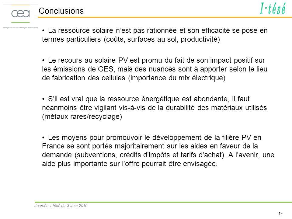 Journée I-tésé du 3 Juin 2010 19 Conclusions La ressource solaire nest pas rationnée et son efficacité se pose en termes particuliers (coûts, surfaces