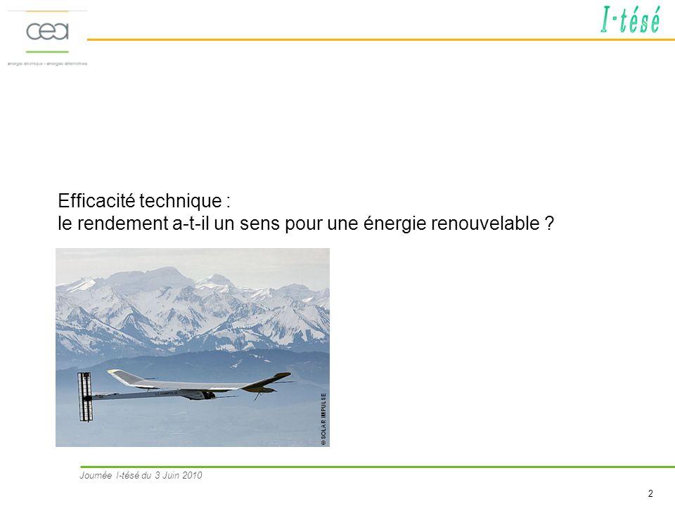 Journée I-tésé du 3 Juin 2010 2 Efficacité technique : le rendement a-t-il un sens pour une énergie renouvelable ? © SOLAR IMPULSE