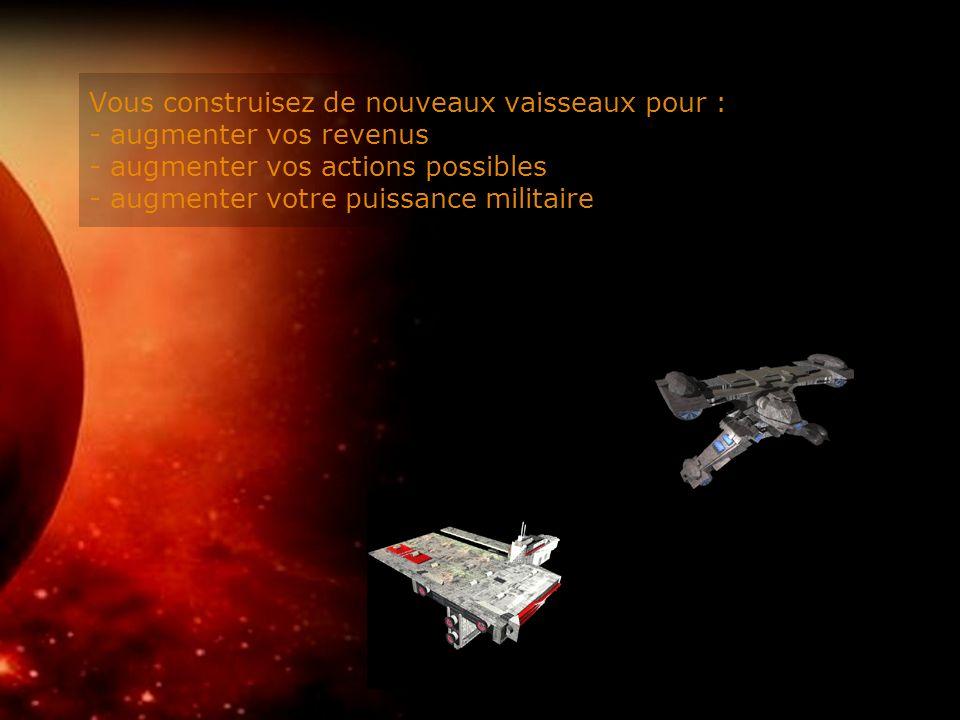 Vous construisez de nouveaux vaisseaux pour : - augmenter vos revenus - augmenter vos actions possibles - augmenter votre puissance militaire