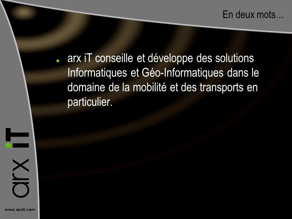 En deux mots… arx iT conseille et développe des solutions Informatiques et Géo-Informatiques dans le domaine de la mobilité et des transports en parti