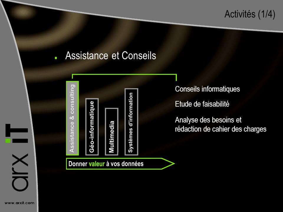 Activités (1/4) Conseils informatiques Etude de faisabilité Analyse des besoins et rédaction de cahier des charges Assistance et Conseils