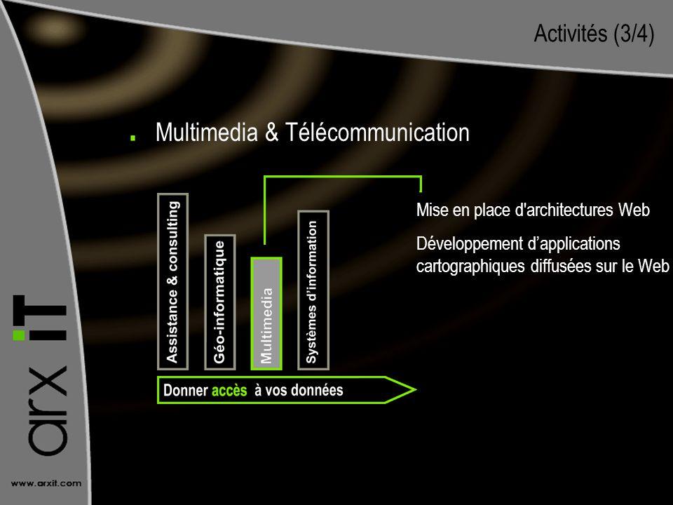 Activités (3/4) Mise en place d'architectures Web Développement dapplications cartographiques diffusées sur le Web Multimedia & Télécommunication
