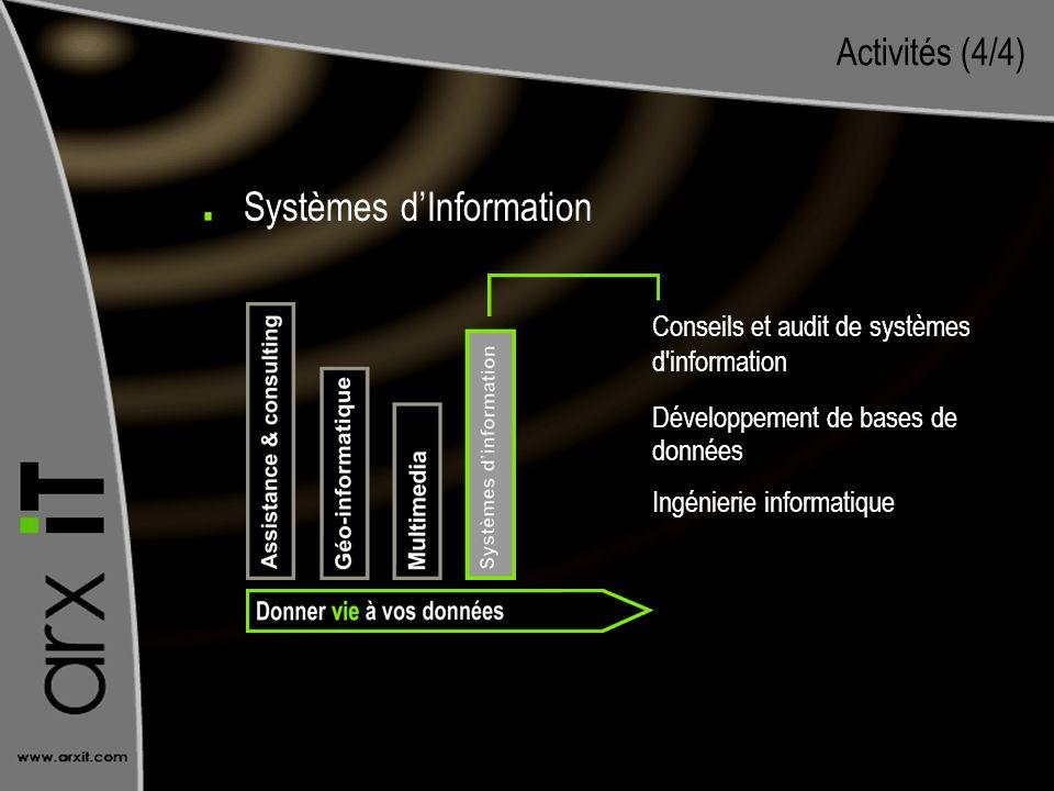 Activités (4/4) Conseils et audit de systèmes d'information Développement de bases de données Ingénierie informatique Systèmes dInformation