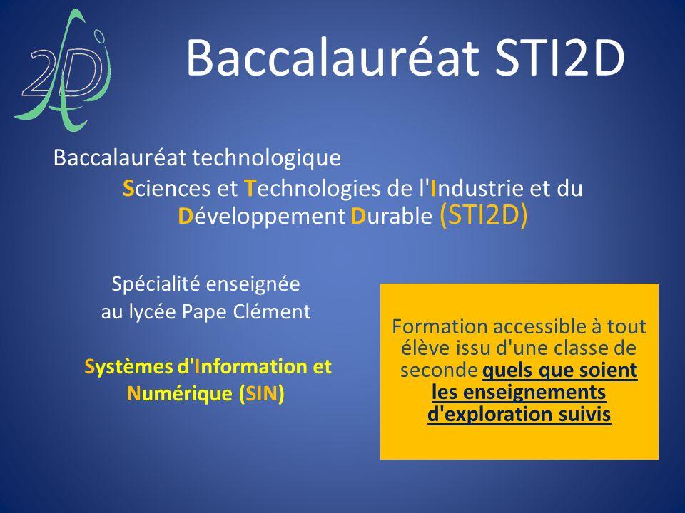 Spécialité enseignée au lycée Pape Clément Systèmes d'Information et Numérique (SIN) Baccalauréat technologique Sciences et Technologies de l'Industri
