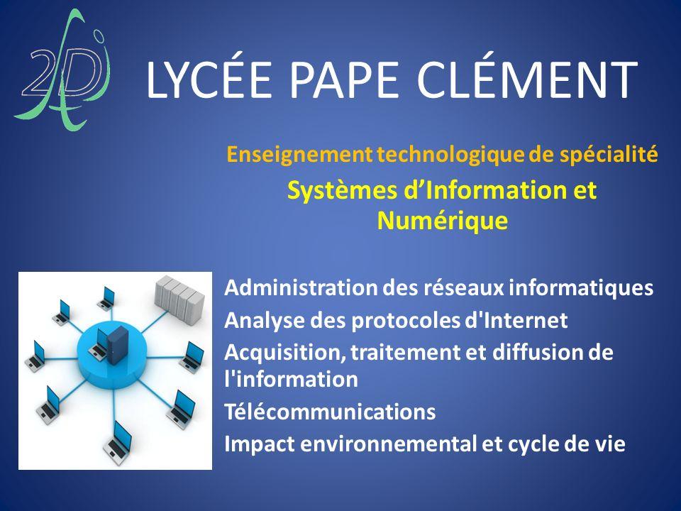 LYCÉE PAPE CLÉMENT Enseignement technologique de spécialité Systèmes dInformation et Numérique Administration des réseaux informatiques Analyse des pr
