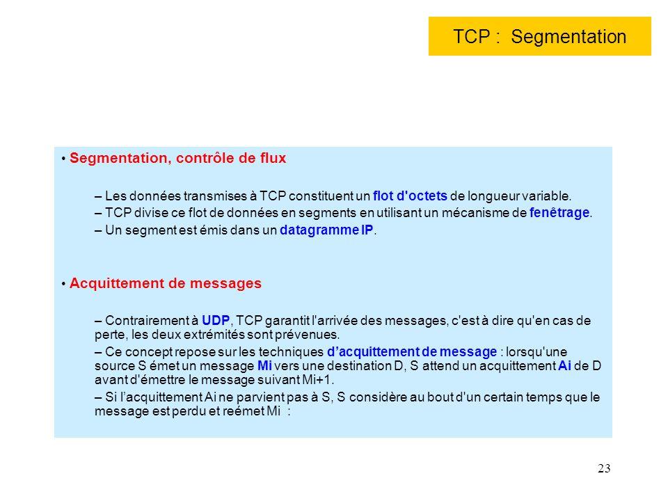 23 TCP : Segmentation Segmentation, contrôle de flux – Les données transmises à TCP constituent un flot d'octets de longueur variable. – TCP divise ce