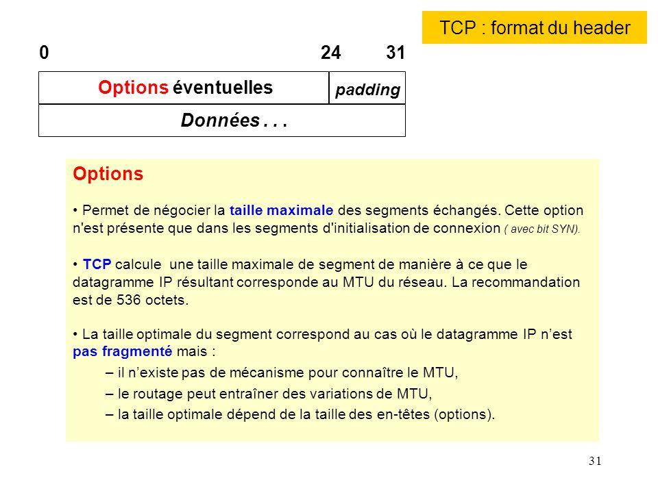 31 TCP : format du header Options Permet de négocier la taille maximale des segments échangés. Cette option n'est présente que dans les segments d'ini