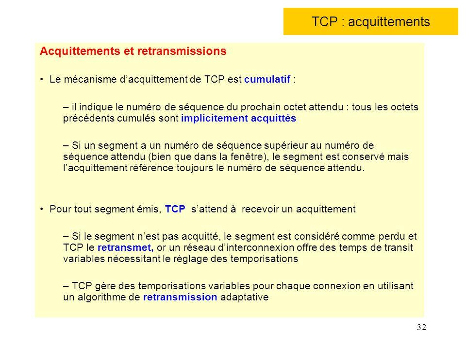 32 TCP : acquittements Acquittements et retransmissions Le mécanisme dacquittement de TCP est cumulatif : – il indique le numéro de séquence du procha