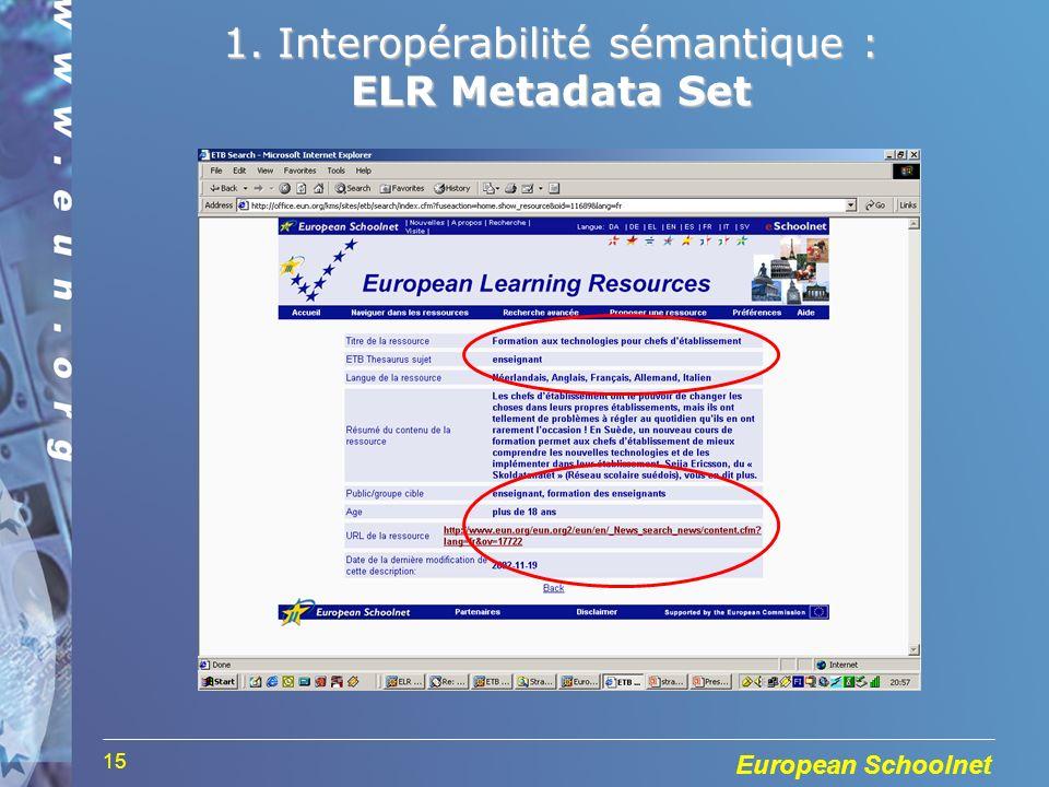 European Schoolnet 15 1. Interopérabilité sémantique : ELR Metadata Set