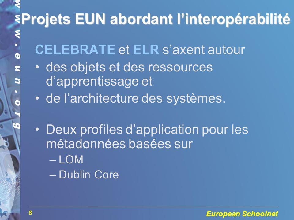 European Schoolnet 8 Projets EUN abordant linteropérabilité CELEBRATE et ELR saxent autour des objets et des ressources dapprentissage et de larchitecture des systèmes.
