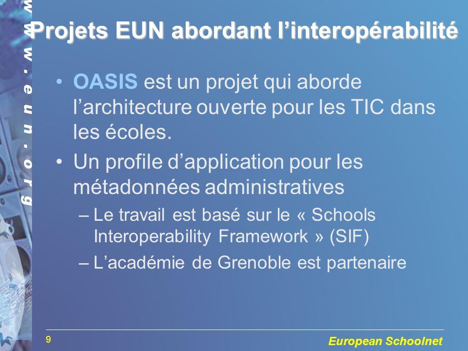 European Schoolnet 9 OASIS est un projet qui aborde larchitecture ouverte pour les TIC dans les écoles.