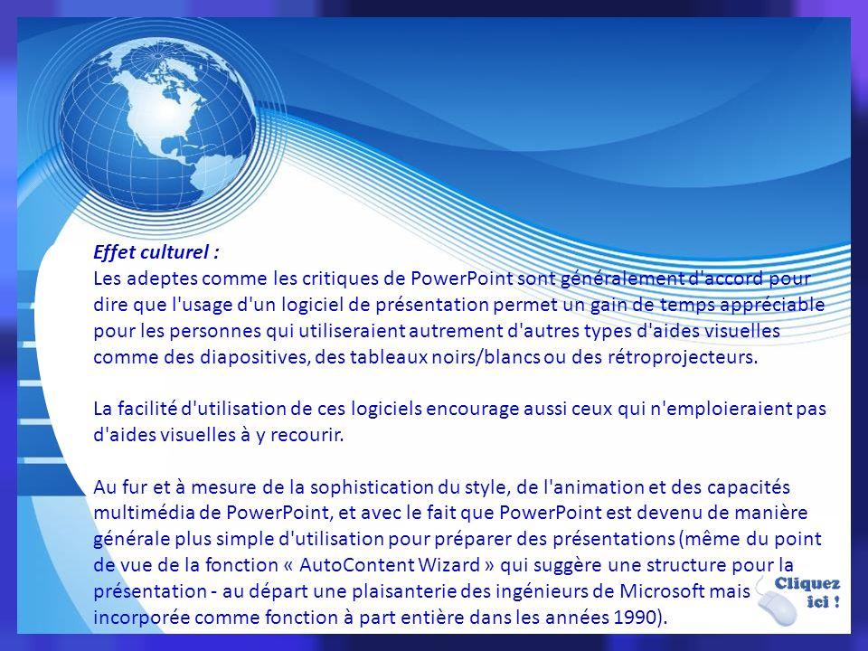 Compatibilité Comme les fichiers issus de Microsoft Office sont souvent envoyés d un utilisateur à l autre, la plus importante caractéristique d un logiciel de présentation (tel Keynote d Apple ou Impress de OpenOffice.org) est sans aucun doute devenue de pouvoir ouvrir un fichier créé avec Microsoft Office PowerPoint.