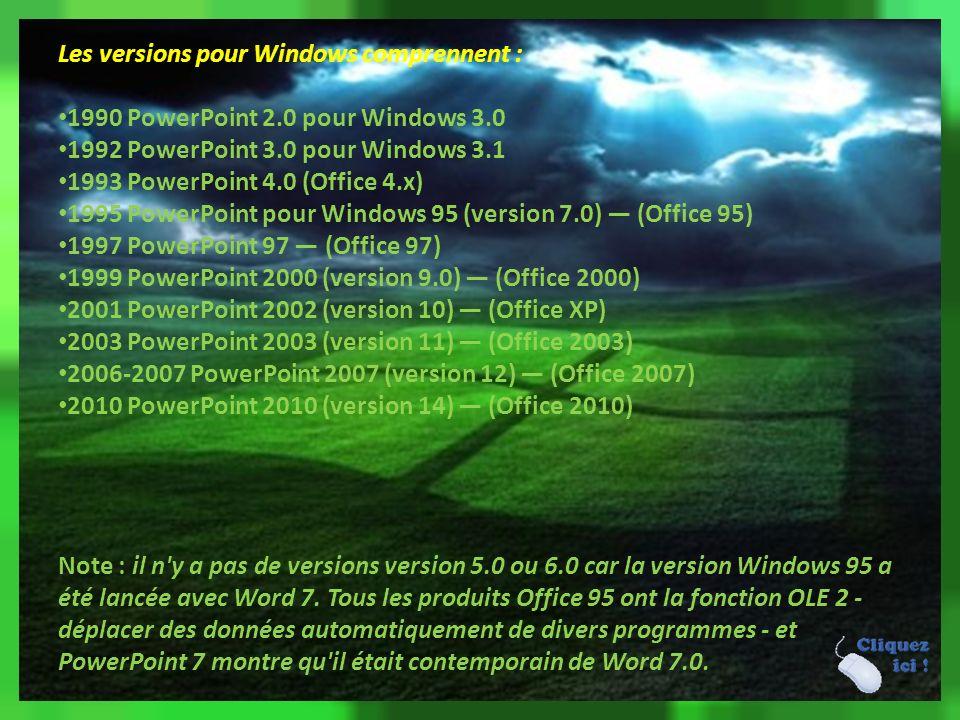 Versions Les versions pour Mac OS incluent : 1987 PowerPoint 1.0 pour Mac OS classic 1988 PowerPoint 2.0 pour Mac OS classic 1992 PowerPoint 3.0 pour