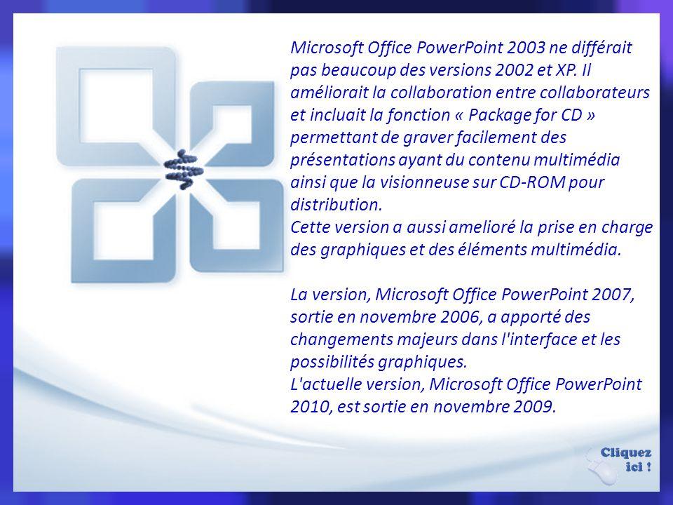 La version 2002, partie intégrante de la suite Microsoft Office XP et aussi disponible en produit séparé, fournit des caractéristiques telles la comparaison et la fusion de présentations, la capacité de créer des chemins d animation pour des formes individuelles, des diagrammes pyramidaux/radiaux/cible/de Venn, de nombreuses feuilles de style, un « Task Pane » (qu on peut traduire par « menu de tâches ») permettant de voir et sélectionner du texte et des objets dans le presse-papier, une protection des présentations par un mot de passe, un album photo généré automatiquement, et l usage de balises intelligentes permettant aux utilisateurs de sélectionner rapidement le format du texte copié dans la présentation.