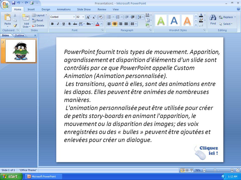 Fonctionnement Dans PowerPoint, ainsi que dans la plupart des logiciels de présentation, les textes, images, vidéos et autres objets sont positionnés sur des pages individuelles, les « slides » (on parle aussi de diapositives, de diapos ou de planches).