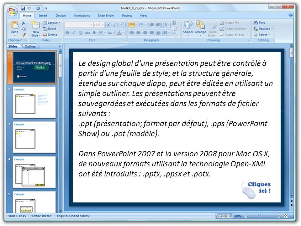PowerPoint fournit trois types de mouvement. Apparition, agrandissement et disparition d'éléments d'un slide sont contrôlés par ce que PowerPoint appe