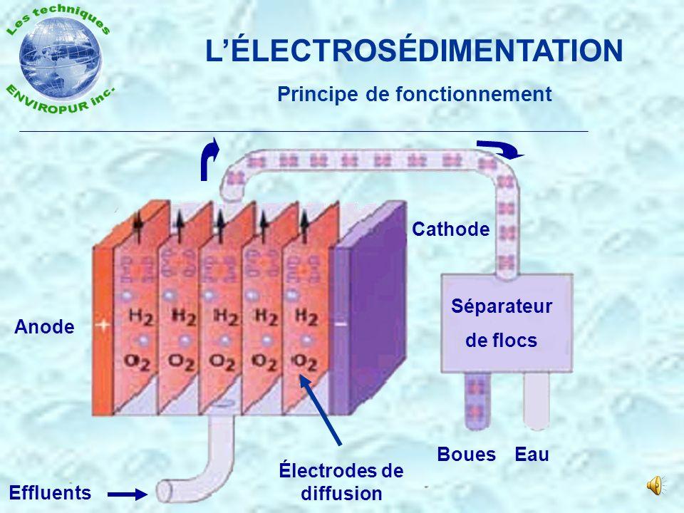 LÉLECTROSÉDIMENTATION Schématique de fonctionnement de lélectrolyse Eau à traiter