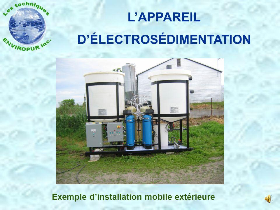 LÉLECTROSÉDIMENTATION Schématique de traitement électrosédimentation Entrée du produit Réservoir de produit traité Réservoir des éléments de flotation