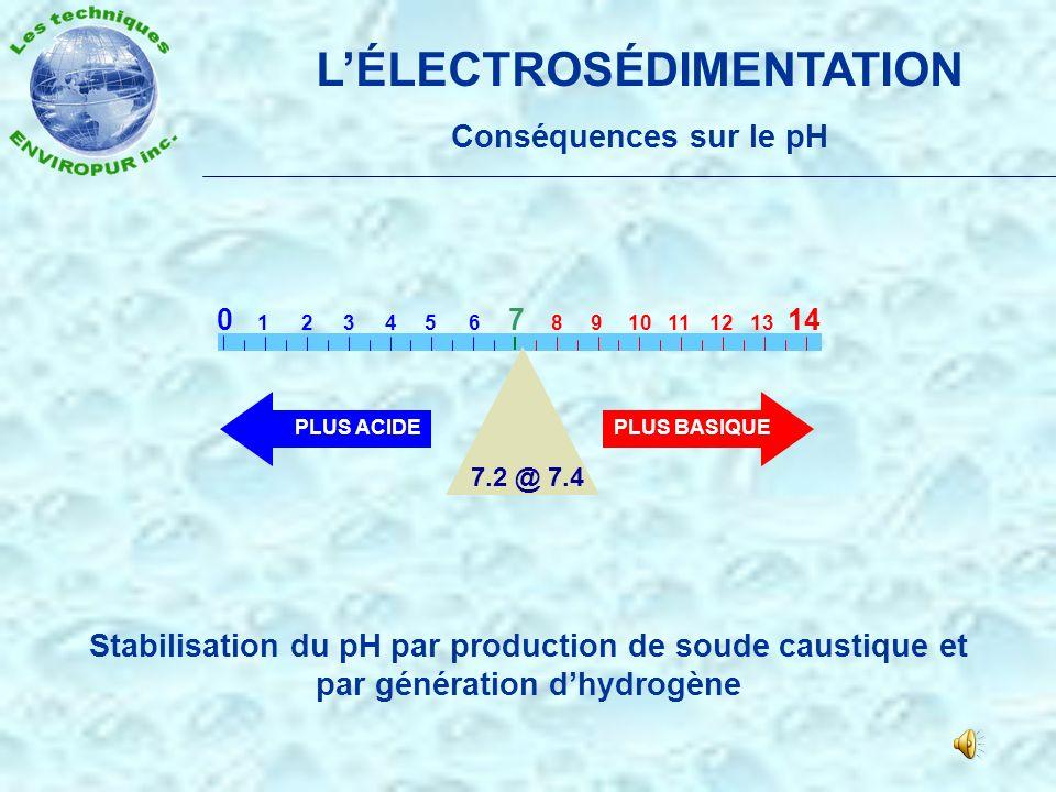 LÉLECTROSÉDIMENTATION Un procédé délectrolyse Création de floculation ou de décantation (Fer ferrique) Fe 3 + et O 2 - Fe 2 O 3 (Rouille) Cu et 2H- et