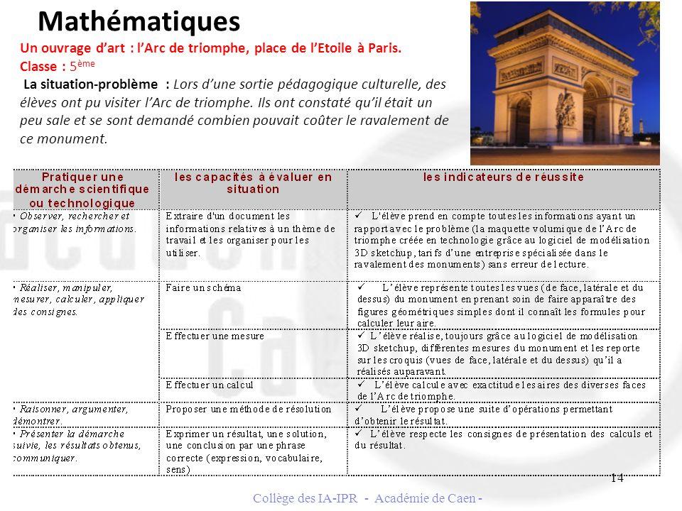 Mathématiques Un ouvrage dart : lArc de triomphe, place de lEtoile à Paris. Classe : 5 ème La situation-problème : Lors dune sortie pédagogique cultur