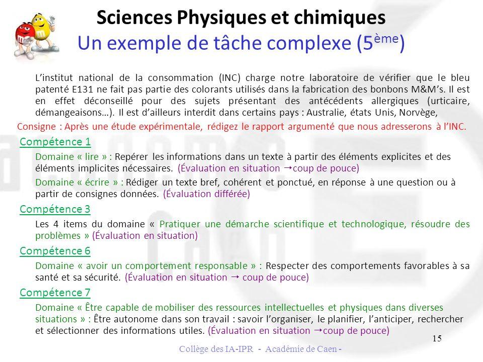 Sciences Physiques et chimiques Un exemple de tâche complexe (5 ème ) Linstitut national de la consommation (INC) charge notre laboratoire de vérifier
