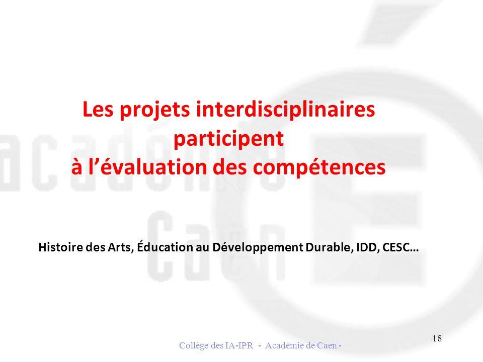 Les projets interdisciplinaires participent à lévaluation des compétences Histoire des Arts, Éducation au Développement Durable, IDD, CESC… 18 Collège