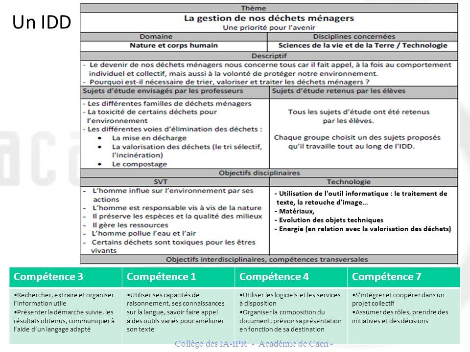 Un IDD 20 Collège des IA-IPR - Académie de Caen - Compétence 3Compétence 1Compétence 4Compétence 7 Rechercher, extraire et organiser linformation util