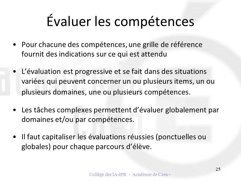 Évaluer les compétences Pour chacune des compétences, une grille de référence fournit des indications sur ce qui est attendu Lévaluation est progressi