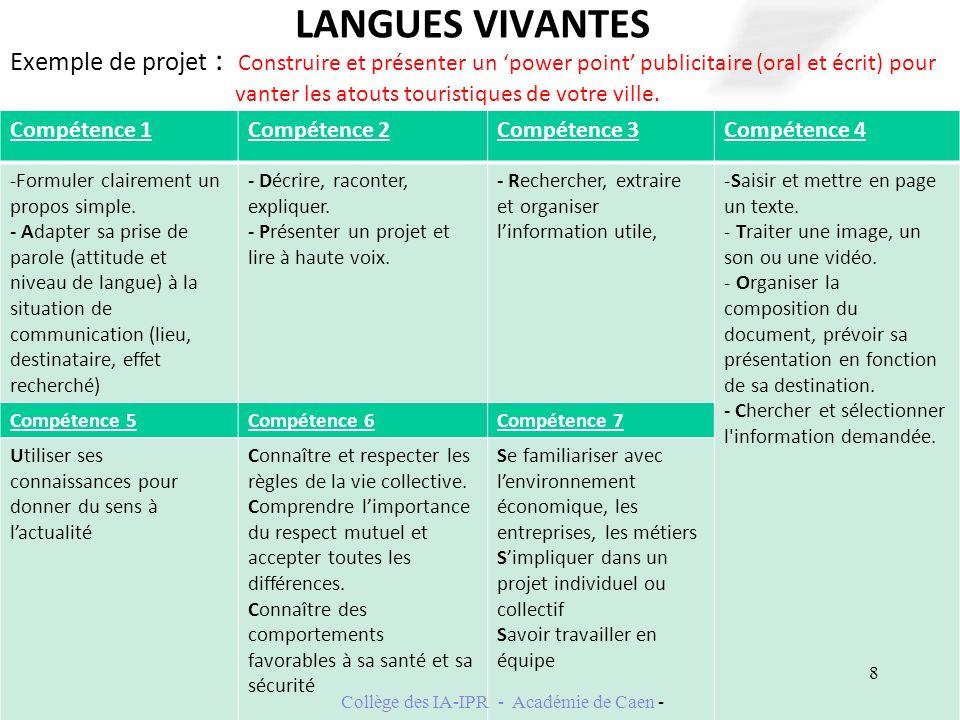 LANGUES VIVANTES Exemple de projet : Construire et présenter un power point publicitaire (oral et écrit) pour vanter les atouts touristiques de votre