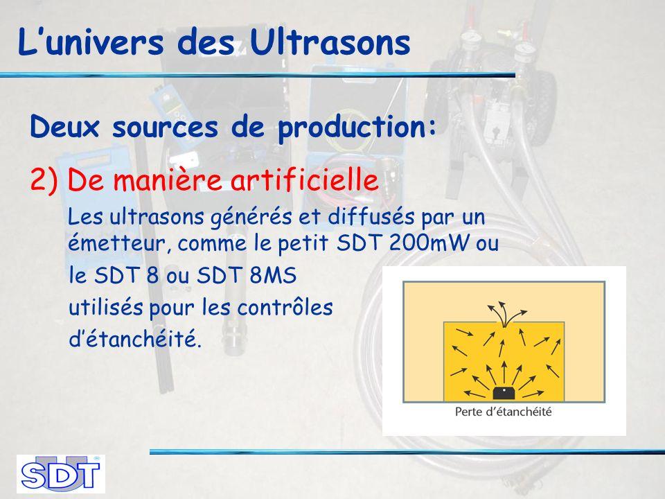 Lunivers des Ultrasons Deux sources de production: 2) De manière artificielle Les ultrasons générés et diffusés par un émetteur, comme le petit SDT 200mW ou le SDT 8 ou SDT 8MS utilisés pour les contrôles détanchéité.