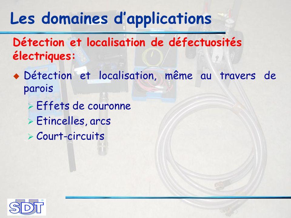 Détection et localisation de défectuosités électriques: Détection et localisation, même au travers de parois Effets de couronne Etincelles, arcs Court-circuits Les domaines dapplications