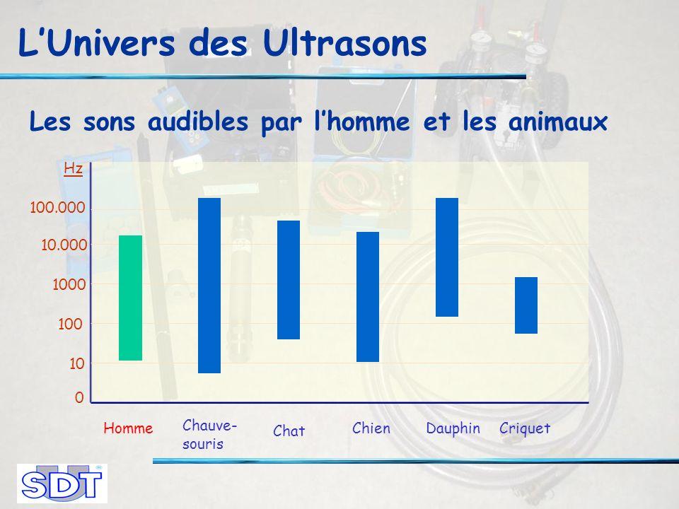 LUnivers des Ultrasons Les sons audibles par lhomme et les animaux 10 0 100 1000 10.000 100.000 Hz Chauve- souris Chat ChienDauphinCriquetHomme
