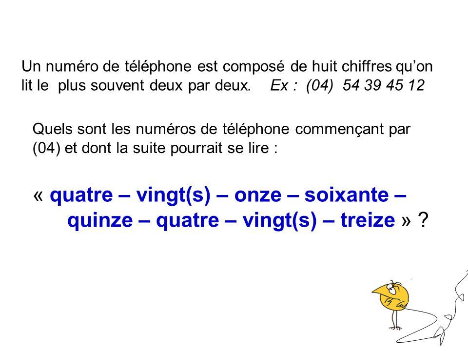 Un numéro de téléphone est composé de huit chiffres quon lit le plus souvent deux par deux. Ex : (04) 54 39 45 12 Quels sont les numéros de téléphone