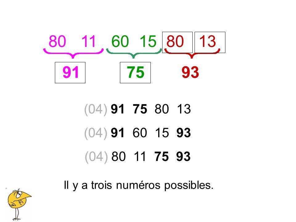 (04) 91 75 80 13 (04) 91 60 15 93 (04) 80 11 75 93 80 11 60 15 80 13 91 75 93 Il y a trois numéros possibles.