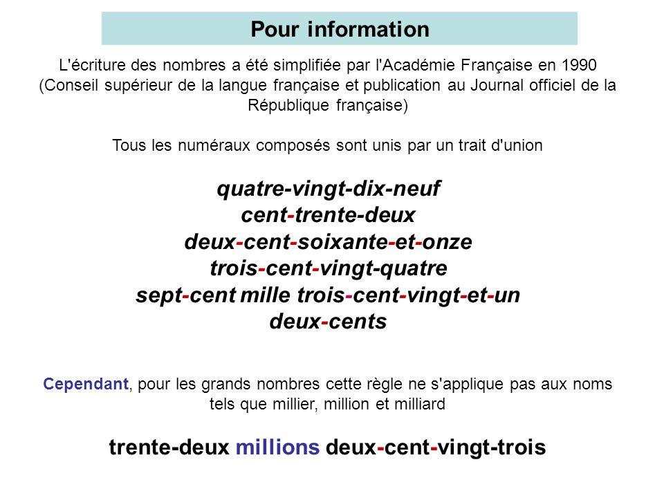 L'écriture des nombres a été simplifiée par l'Académie Française en 1990 (Conseil supérieur de la langue française et publication au Journal officiel