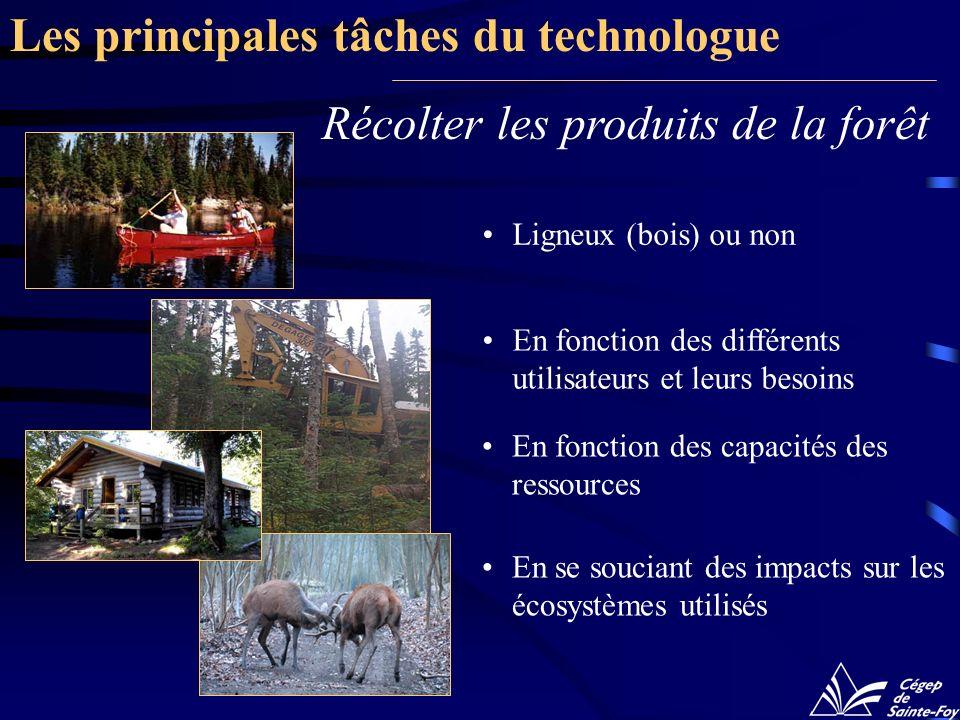 Récolter les produits de la forêt En fonction des différents utilisateurs et leurs besoins En fonction des capacités des ressources Les principales tâches du technologue Ligneux (bois) ou non En se souciant des impacts sur les écosystèmes utilisés