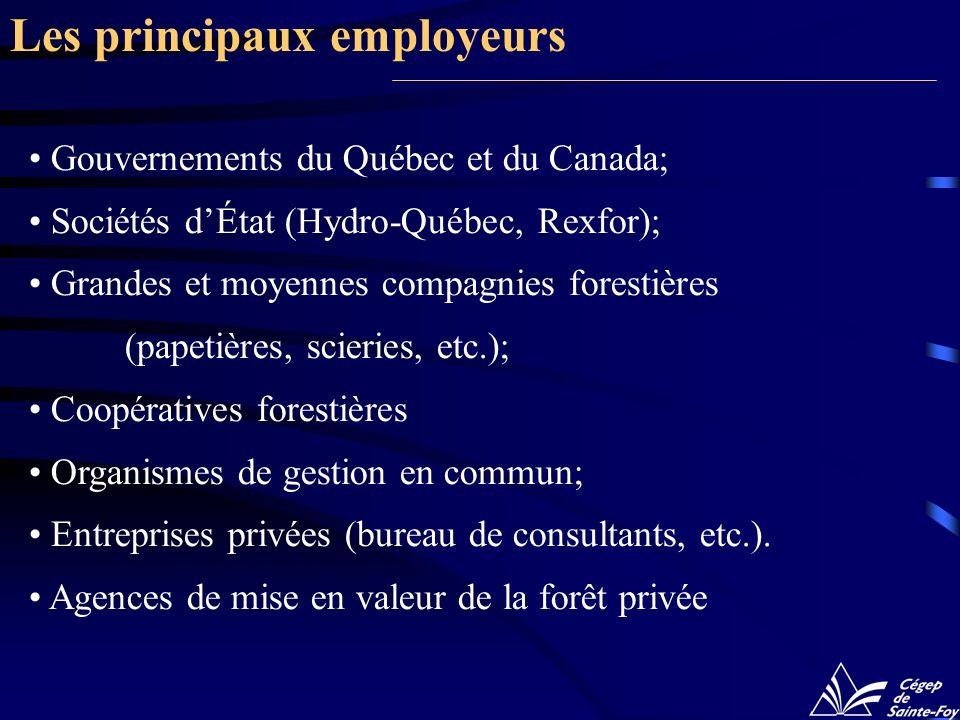 Gouvernements du Québec et du Canada; Sociétés dÉtat (Hydro-Québec, Rexfor); Grandes et moyennes compagnies forestières (papetières, scieries, etc.);
